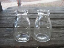 """Two DELAMORE Half Pint Glass Milk Bottles, almost 4 1/2""""tall, Good Cond."""