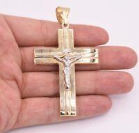 "3 1/2"" Huge Cross Jesus Crucifix Diamond Cut Pendant Real 10K Yellow White Gold"