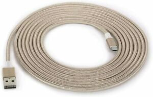 Griffin Reversible Charge/Sync Braided Micro USB 3m Long Charger Cable Lead Gold
