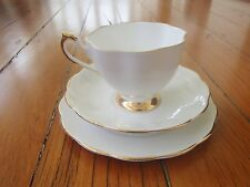 VINTAGE QUEEN ANNE WHITE BONE CHINA TRIO SET CUP SAUCER AND PLATE