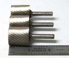 """3 pc 1"""" Single Cut Cylinder HSS Rotary Burr Files American Made Aircraft Tool"""
