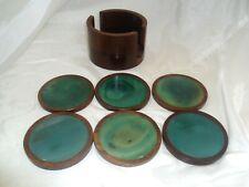 Set of 6 Green Agate Stone Drink Coasters in Wooden Holder