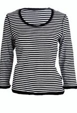 Scoop Neck 3/4 Sleeve Striped Tops & Shirts for Women
