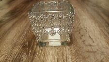 Square glass candle holder with rhinestone look daisy accent set of 6