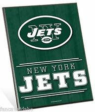 """NFL New York NY Jets Logo Premium 8"""" x 10"""" Solid Wood Easel Sign"""