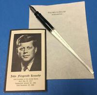PRESIDENT KENNEDY/JFK - BILL SIGNING PEN, STATIONERY & CARD - WHITE HOUSE-ISSUE
