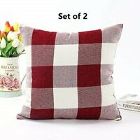 Christmas Decor Farmhouse Buffalo Checker Plaid Cotton Linen Throw Pillow Case