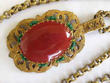 Vintage Miriam Haskell Large Etruscan Carnelian Color Glass Seed Bead Necklace