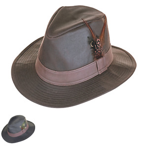 British Waxed Cotton Trilby Leatherette Band Water Resistant ZH150
