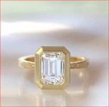 Engagement Ring 14K Yellow  00006000 Gold 4Ct Emerald Moissanite Bezel Set Wedding