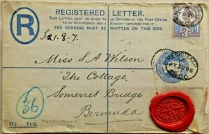GREAT BRITAIN 1896 REGISTERED POSTAL STATIONERY COVER TO BERMUDA WITH ARRIVAL