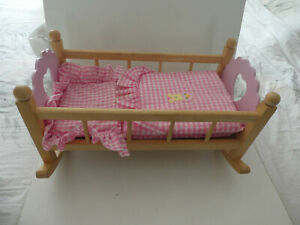 """WOOD BABY DOLLS  ROCKING COT BED WITH BEDDING  19"""" X 9""""   wooden pink ends"""