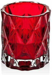 Yankee Candle Fractal Glass Votive Candle Holder, Ruby Red