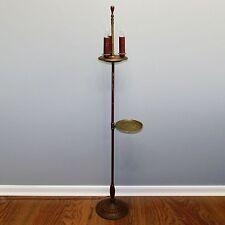 "Vtg 57"" Asian Dragon Brass Service Tray Art Deco Floor Lamp 3 Light Pivot Final"