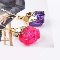 Quartz Stone Gift Crystal Rock Gold Plated Pendant Natural Necklace Chakra