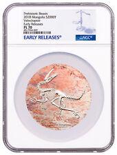 2018 Mongolia Prehistoric Velociraptor 3 oz Silver 2000T NGC PL70 ER SKU53334