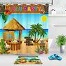 """72x72"""" Bathroom Decor Fabric Shower Curtain Set Hooks LUAU PARTY Hawaiian Beach"""