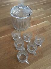 Bowle Set 8-teilig Bowleset Bowletopf mit 6-Bowletassen 60er Jahre Kristallglas