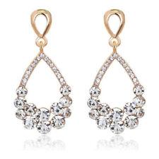 White Rhinestones Pear Tear Gold Yellow Bridal Drop Stud Earrings E1330