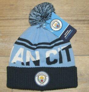 Official Manchester City Man City MCFC Cuffed Winter Knit Hat Cap Men's