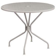 35.25'' Round Indoor-Outdoor Restaurant Patio Table in Light Gray Steel Metal