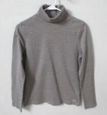 Liz Claiborne gray silver metallic stripe cotton turtleneck top *Sz M*