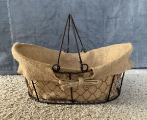"""Large Burlap Lined Metal Chicken Wire Basket Country Rustic Farmhouse Decor 13"""""""