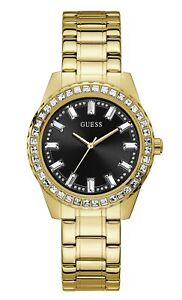 GUESS Women's Quartz Watch with Stainless Steel Strap, Gold, 19 GW0111L2