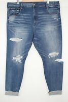 American Eagle Women's Super High Rise Jegging Stretch 24w Destroy Your Blues