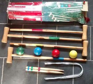 garden   CROQUET SET   4 ..  mallets..balls..hoops and pegs         freepost uk