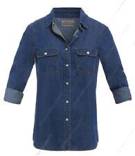 NEW Womens Denim Shirt Ladies Classic Fitted Shirts Size 8 10 12 14 Indigo Blue