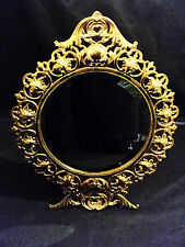 Gorgeous Antique Art Noveau Gilt Metal Table Beveled Glass Mirror, Easel Stand