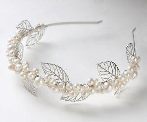 leaves & pearls bridal tiara freshwater pearl silver leaves wedding headband