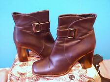 dark brown leather buckle block heel short ankle boot shoe BALLY zip up