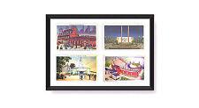 Postcard Display Frame & Mat Fits 4 Vintage / Antique 3-1/2 x 5-1/2 Cards: BLACK