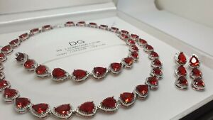 White gold finish red ruby created diamond pearcut necklace earrings bracelet