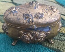 Antique Gold Plated Jewelry Box Rogers Roses Pink Lining Shabby & Chic