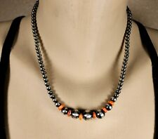 """Bead Necklace with Spiny Oyster Clean Polished Navajo 18"""" Graduated Sterling"""