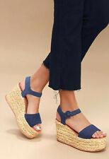 7b22b84f7f Dolce Vita Dane Espadrille Platform Wedge Heel Sandal Indigo Linen Blue  Size 8