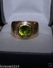 Designer brushed 18k Yellow gold vermeil sterling silver Peridot wide ring GG