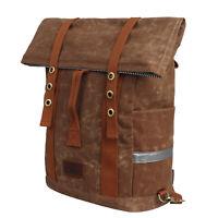 Tourbon Bike Rear Bag Saddle Backpack Luggage Weekend Rucksack Khaki Wax Canvas
