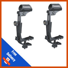 2Pcs Adjustable Clip On Drum Rim Shock Mount Microphone Mic Clamp Holder Black