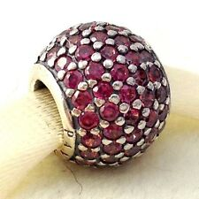 Authentic Pandora Pave Lights Red Sterling Silver Ball Bead Charm 791051CZR New