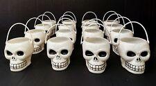 16 Halloween Mini White Plastic Skull Buckets Party Favor Candy Treat Skeleton
