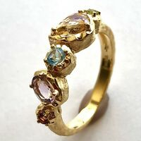 Natural Multi Color Gemstone Band Ring 14K Yellow Gold Vermeil on Sterling Sz 7