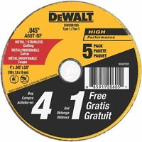 Dewalt DW8061B5 4in. x 0.045in. 5 Pc. Metal and Stainless Cutting Wheel