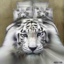 100% Cotton White Tiger King/Queen Size Bed Quilt/Duvet/Comforter Cover Set 2019