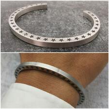 Bracciale da uomo rigido in acciaio inox inossidabile braccialetto color argento