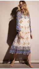 NEW Free People Special Edition blue tan Chiffon Beaded Kimono Midi Dress XS