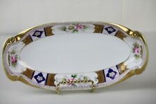 Noritake China Tray Celery Dish Hand Painted Pink Roses Gilt Blue Pinks